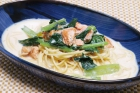 Spinach and Salmon Soy Milk Pasta